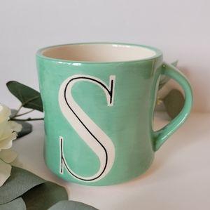 Anthropologie  hand painted monogram mug